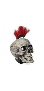 Crâne animé crête rouge Halloween avec son 20 x 15 x 18 cm