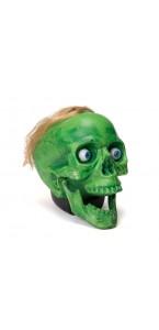 Crâne vert animé Halloween avec son 20 x 15 x 18 cm
