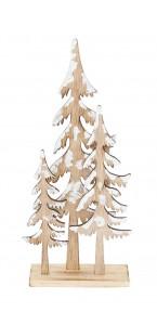 Déco bois Noël  3 sapins sur support 14 x 5 x 31,5 cm