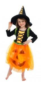 Déguisement robe Citrouille leds avec chapeau fille Halloween