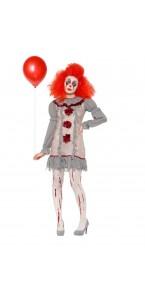 Déguisement clown vintage femme Halloween gris et rouge
