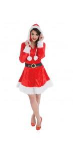 Déguisement Mère Noël robe en velours avec capuche