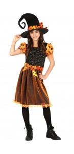 Déguisement Sorcière Spooky fille Halloween noir et or