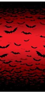 Décoration murale ciel rouge et chauve-souris Halloween
