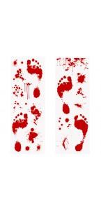 Décoration murale pieds ensanglantés rouges Halloween