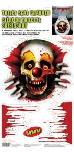 Décoration pour toilettes Clown effrayant Halloween