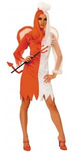 Déguisement ange et démon orange et blanc Halloween