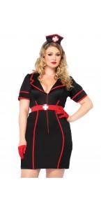 Déguisement infirmiere de nuit sexy noir et rouge