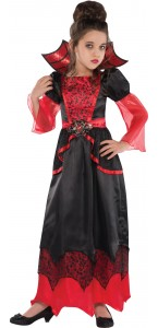 Déguisement reine vampire noir et rouge Halloween fille