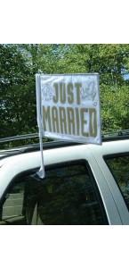 Drapeau de voiture Just married 35,5 x 45,7 cm