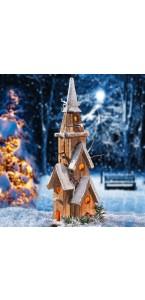 Eglise bois enneigée Noël 10 leds 20 x 17 x 50 cm
