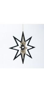 Etoile à suspendre noire/or 22 cm