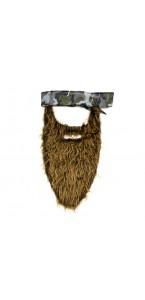 Fausse barbe marron clair avec bandana Halloween