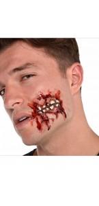 Fausse Cicatrice joue ouverte avec dents 3D Halloween