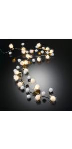 Guirlande lumineuse boules neige 20 leds blanc chaud 115 cm