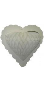 Guirlande 10 cœurs blancs alvéolés sur ruban 4 m