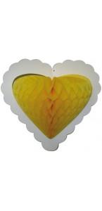 Guirlande 10 cœurs jaunes alvéolés sur ruban 4 m