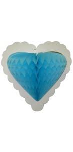 Guirlande 10 cœurs turquoise alvéolés sur ruban 4 m