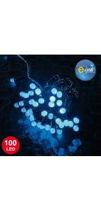 Guirlande 100 leds 8 mm bleues 8 fonctions 10 m