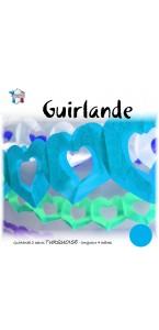 Guirlande 2 cœurs turquoise 4 m