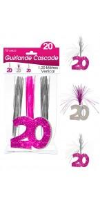 Guirlande Cascade 20 ans Hologramme rose