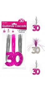 Guirlande Cascade 30 ans Hologramme rose