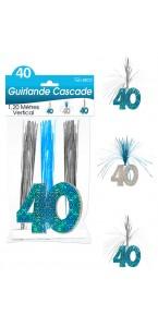 Guirlande Cascade 40 ans Hologramme bleue