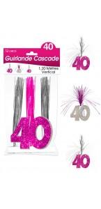 Guirlande Cascade 40 ans Hologramme rose