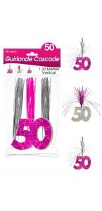 Guirlande Cascade 50 ans Hologramme rose