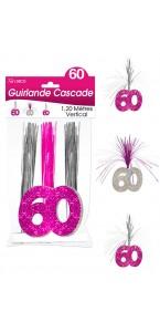 Guirlande Cascade 60 ans Hologramme rose