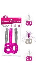 Guirlande Cascade 80 ans Hologramme rose