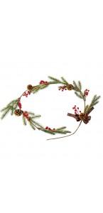 Guirlande de Noël sapin, pommes de pin, baies, nœuds 55 cm