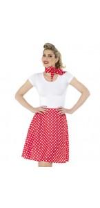 Jupe années 50 rouge à pois blanc