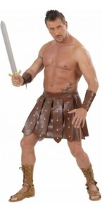 Jupe de gladiateur simili cuir + brassards