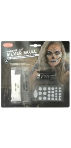 Kit maquillage crâne argenté Halloween