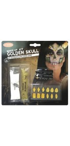 Kit maquillage crâne doré Halloween