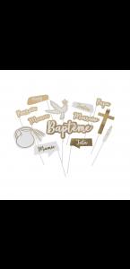Kit photobooth baptême 13 pièces blanc/or