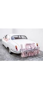 Kit voiture mariés Love rose gold 18 pièces