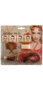 Kit de maquillage Diable glitter Halloween