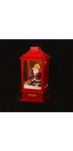 Lanterne Père Noël musical et animé 2 leds 32 cm