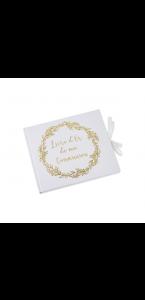 Livre d'or Communion blanc/or 22 x 19 cm