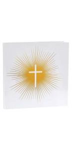Livre d'or Communion blanc motifs or 24 x 24 cm
