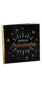 Livre d'or or étincelant Joyeux Anniversaire 24 x 24 cm