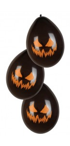 Lot de 6 Ballons latex Citrouille effrayante Halloween