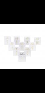 Lot de 10 marque-table blanc de 1 à 10 - 15 x 10 cm