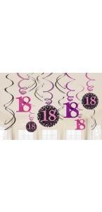 Lot de 12 Guirlandes spirale Sparkling Celebration roses Happy Birthday ''18''