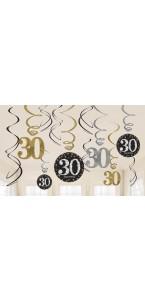 Lot de 11 Guirlandes spirale Sparkling Celebration Happy Birthday ''30''