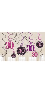 Lot de 12 Guirlandes spirale Sparkling Celebration roses Happy Birthday ''30''