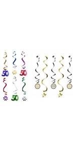 Lot de 11 Guirlandes spirale Sparkling Celebration Happy Birthday ''50''