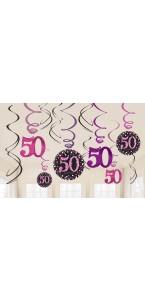 Lot de 12 Guirlandes spirale Sparkling Celebration roses Happy Birthday ''50''